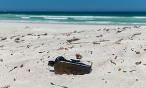 the world's oldest known message in a bottle on a beach.