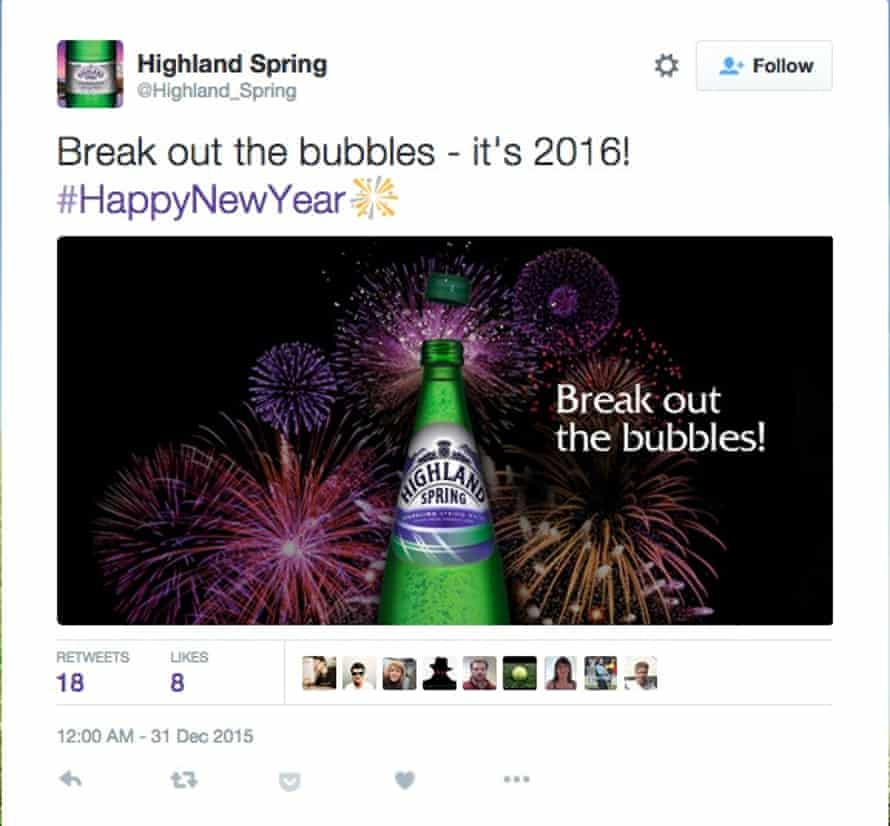 Highland Spring welcomes 2016 a day early.