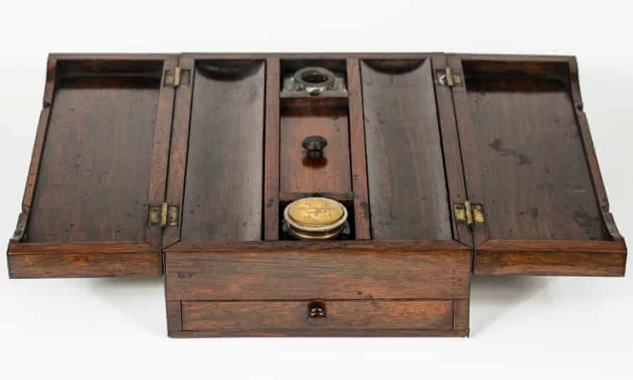 Portable writing desk made of rose wood with inlay of mother of pearl. Owned by Charles Dickens, c. 1860