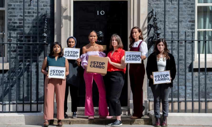 Friends of the Earth Scotland campaigners deliver a petition to 10 Downing Street opposing the Cambo oilfield near Shetland.