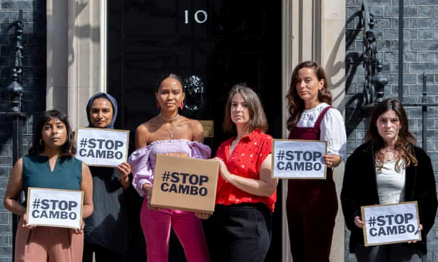 Campaigners delivering a petition to No 10 opposing the drilling of oil and gas near Shetland, 5 August 2021.