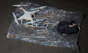 A drone carrying drugs that was seized by police