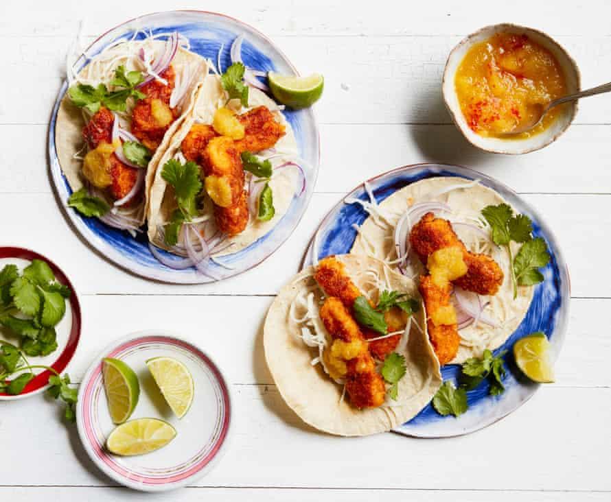 Thomasina Miers' cornflake-crumbed fish tacos.