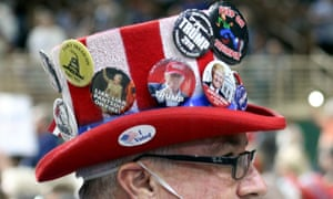 Trump (and anti-Clinton) flair on a supporter's hat.