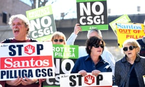Demonstrators protest against Santos's plans for an 850-well coal seam gas field near Narrabri, in New South Wales, in August last year.
