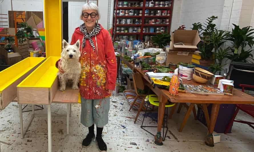 Morag Myerscough with her dog Elvis.