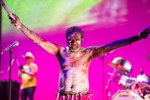 Yothu Yindi & the Treaty Project in performance at Hamer Hall in Melbourne