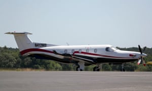 """The Pilatus PC12 plane which took off from Fairoaks airfield in Surrey before flying to north Wales where the pilot landed without permission on a closed military runway at RAF Valley """"because he wanted to go to the beach""""."""