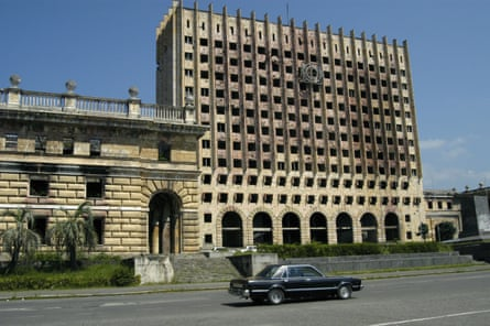 Sukhumi's destroyed government building.