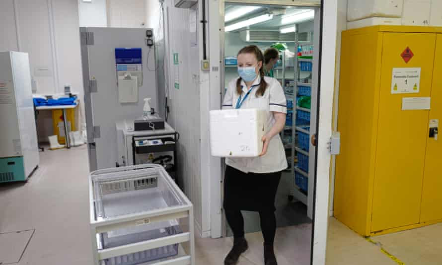 NHS Pharmacy Technician, prepares the Covid-19 vaccine for use by the vaccinations team.