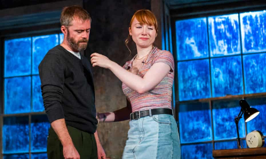 Pain seeps into the silence … Rory Keenan as Ian and Michelle Fox as Neasa in Shining City at Theatre Royal Stratford East, London