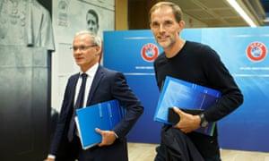 Uefa deputy secretary general Giorgio Marchetti walks alongside Thomas Tuchel, after the 2018 Uefa Elite Club Coaches Forum on Tuesday.