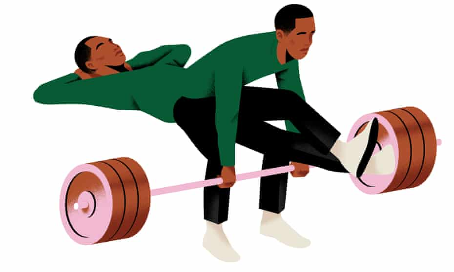 Illustration of a man lifting a weight while another relaxes