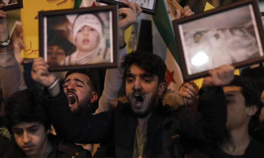 Protesters shout slogans against Russia