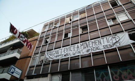 Banners outside Notara 26, a self-organised refugee accommodation squat.