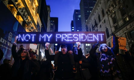 Demonstrators in New York protest against Donald Trump in front of Trump Tower in November.