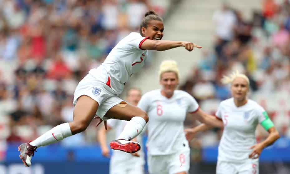 Nikita Parris of England celebrates after scoring her team's first goal against Scotland.