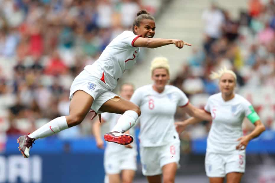 Nikita Parris of England celebrates after scoring her team's first goal against Scotland at Stade de Nice.
