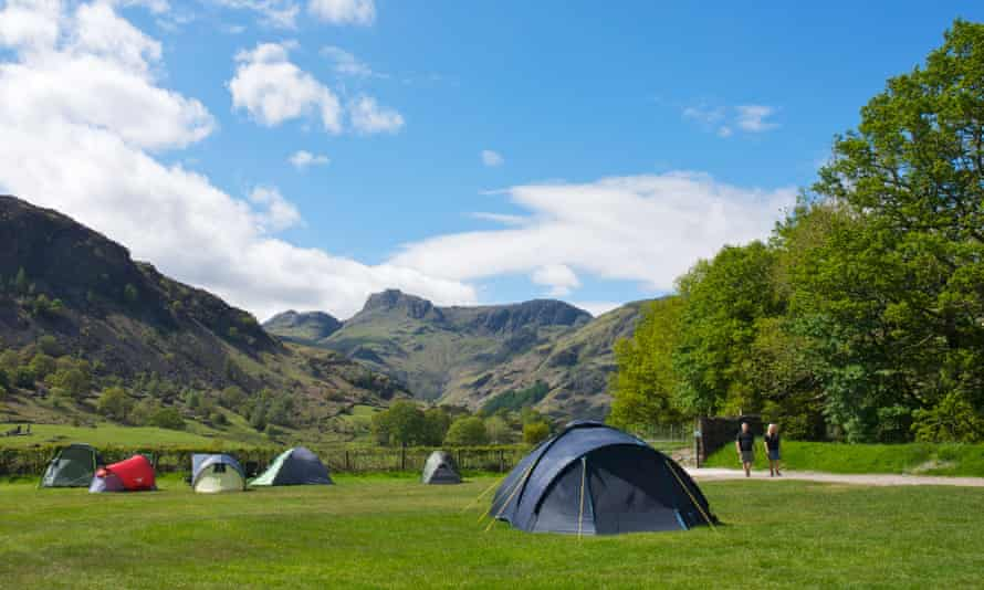 A campsite in the Lake District national park, Cumbria.