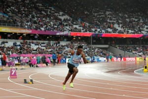 Isaac Makwala of Botswana starts a solo heat of the men's 200m after given special medical compensation to compete.