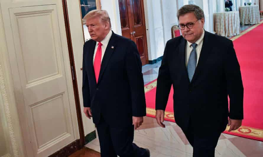 Donald Trump and William Barr at the White House in Washington DC on 9 September 2019.