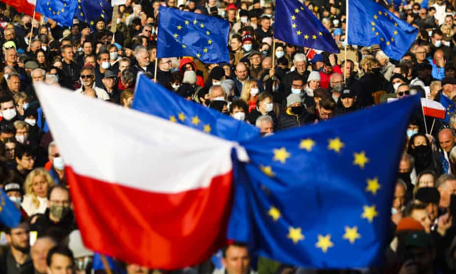 Thousands of protesters mass in support of the EU at the  Main Square in Krakow, Poland