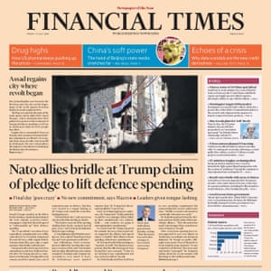 FT front page, Friday 13 July