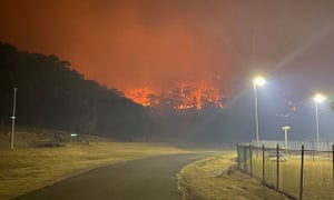 A bushfire burns near the Lithgow Correctional Centre compound in Marrangaroo, New South Wales, Australia December 19, 2019.