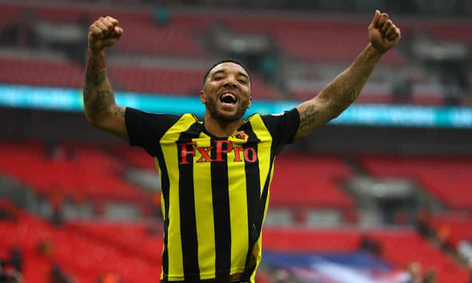 Deeney celebrates after Watford defeat Wolves in the FA Cup semi-final last month.
