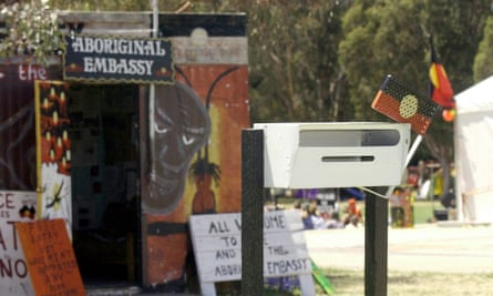 The letterbox outside the Aboriginal Embassy in Canberra on its 30th anniversary.