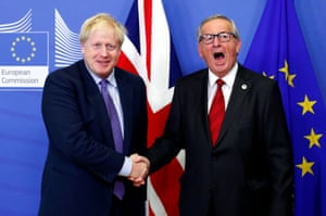 Brussels, Belgium Boris Johnson and European Commission president Jean-Claude Juncker shake hands during a news conference after agreeing on the Brexit deal