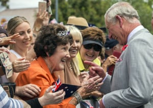"""The future king greets a well-wisher in the crowd. That tiara is not quite in the same league as <a href=""""https://en.wikipedia.org/wiki/The_Personal_Jewel_Collection_of_Elizabeth_II"""">his mother's collection</a>."""