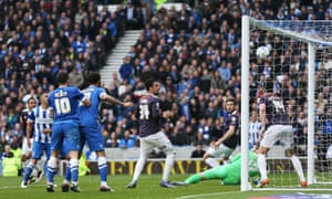 James Wilson's effort for Brighton flies high into the net in the 95th minute.