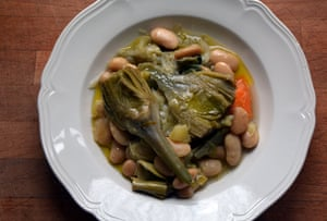 Braised artichoke and butter beans: 'We ate ours with bread and Mrs Kirkham's glorious Lancashire cheese.'