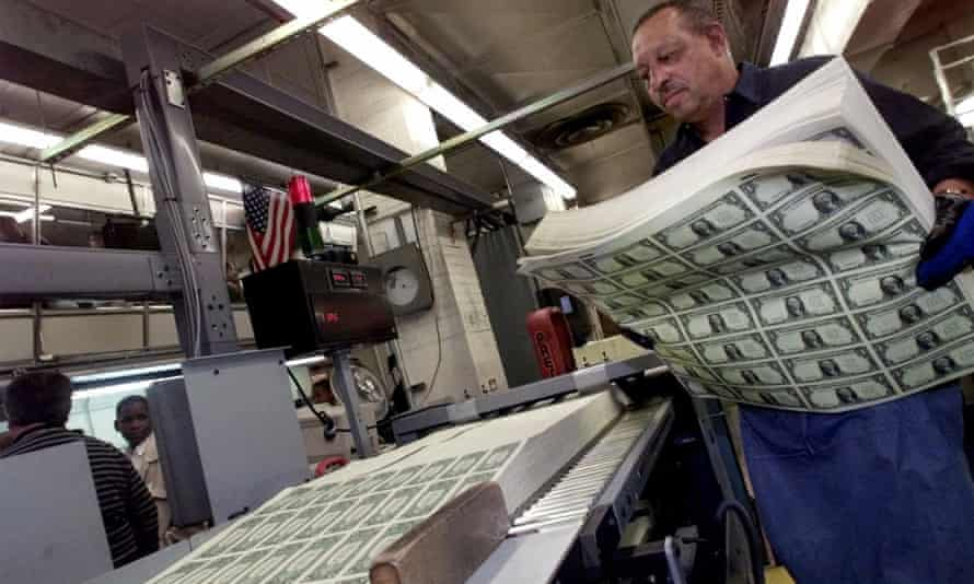 Sheets of $1 bills prior to cutting at the Bureau of Printing and Engraving in Washington.