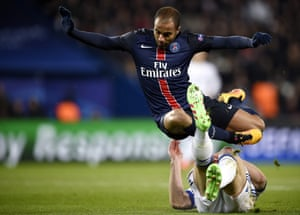 Lucas Moura in action for Paris St-Germain against Chelsea in 2016. He says he had 'difficult moments' in France.