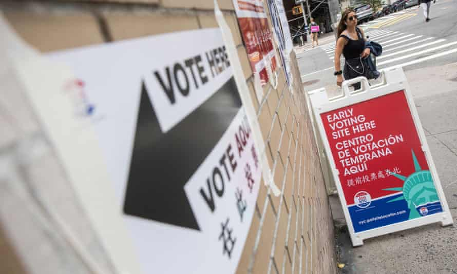 A sign announces early voting in the New York City mayoral primary election on 13 June.