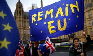 Anti-Brexit demonstrators protest outside the Houses of Parliament in London