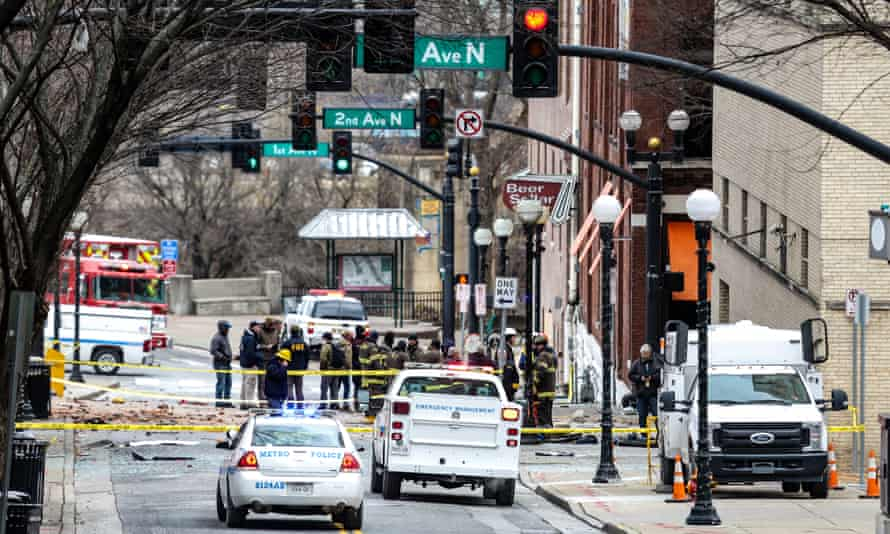 FBI and first responders work downtown in Nashville on Christmas Day.