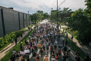 Minneapolis, Minnesota, US: people march during a demonstration calling for Minneapolis police union Lt Bob Kroll to be fired. Protests and gatherings continued this week to honour the death of George Floyd and other black and indigenous men and women who have been killed by officers of the Minnesota police department