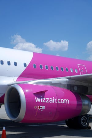 Wizz Air A320 200 on the tarmac at Budapest Ferihegy Airport, Hungary.
