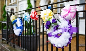 Wreaths are displayed outside of Philia Lodge care home in Peterborough where seven residents have died as result of Covid-19.