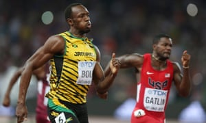 Usain Bolt and Justin Gatlin in the 2015 world championship 200m final.