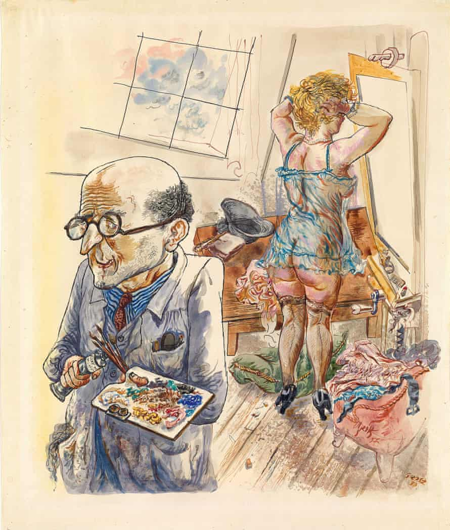 Self-Portrait with Model in the Studio by George Grosz (1930-37).