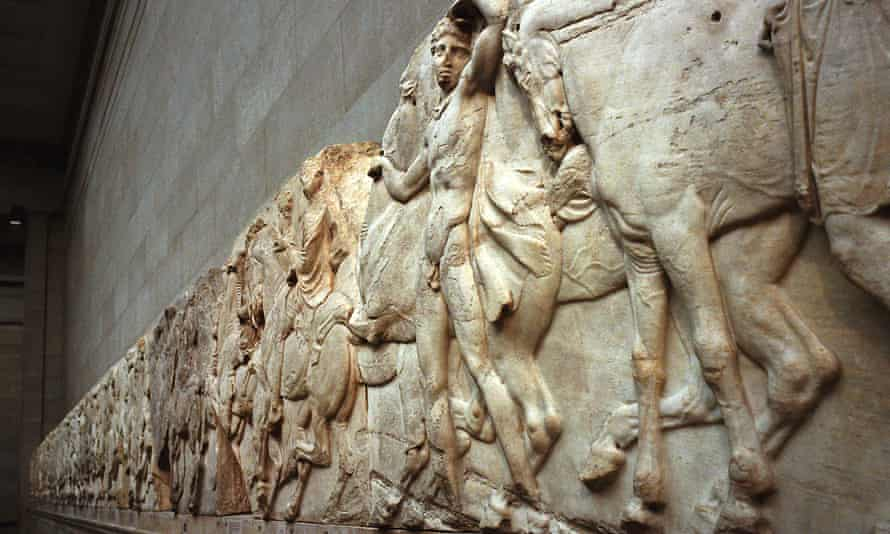 Parthenon marbles on display in the British Museum