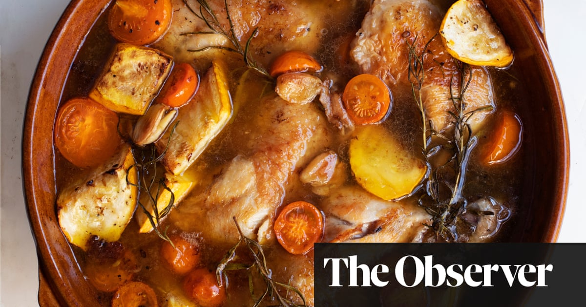 Nigel Slater's recipe for baked chicken with tomatoes and stock