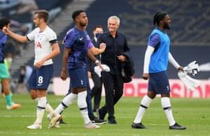 Mourinho celebrates his teams 2-1 victory.