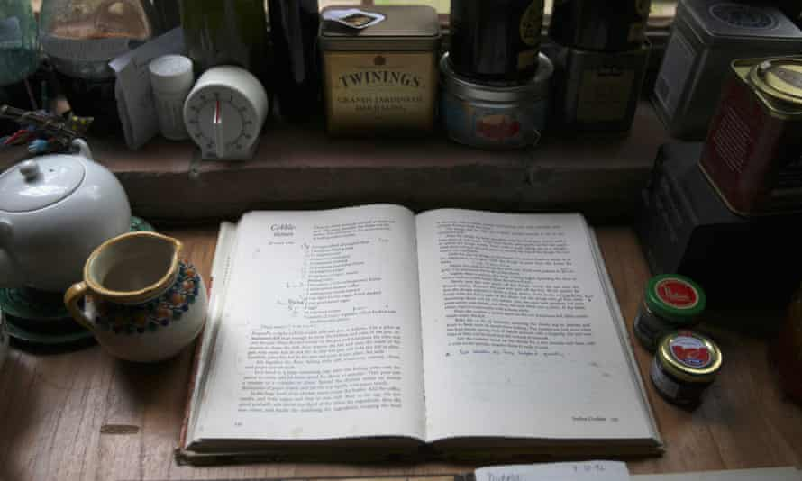 Diana Kennedy's cookbook is displayed on a kitchen table at her house in San Pablo.