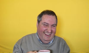 Pino Frumiento with a cup of tea