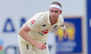 Stuart Broad in action.